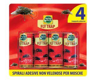Spirali adesive per catturare mosche ed altri insetti nocivi senza l'uso di insetticidi o altre sostanze tossiche.