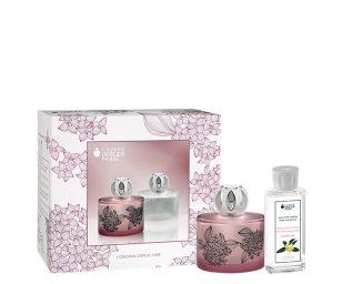 Apportate un tocco di mistero e di femminilità all'ambiente con la nuova lampe berger floralie. Una forma in vetro tondeggiante con una decorazione floreale su un fondo malva brinato.