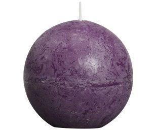 Candela a sfera rustica - d 80mm - viola.