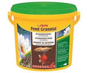 Il mangime granulare per pesci grandi nel laghetto.