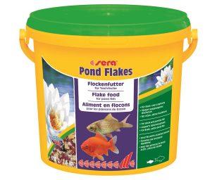 Il mangime in scaglie per pesci piccoli nel laghetto