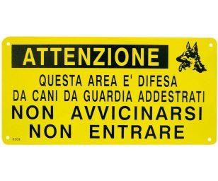 Cartello area difesa cani addestrati.