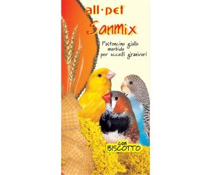 Mangime per animali d'affezione. Pastoncino giallo morbido. Mangime composto complementare per uccelli granivori.