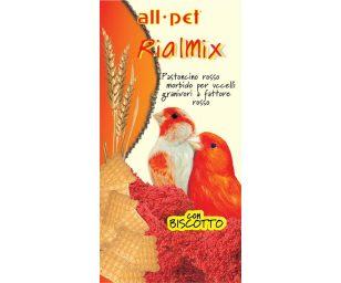 Mangime per animali d'affezione. Pastoncino rosso morbido. Mangime composto complementare per granivori a fattore rosso.