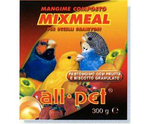Mangime per animali d'affezione. Alimento composto complementare per uccelli granivori con frutta e biscotto granulato.