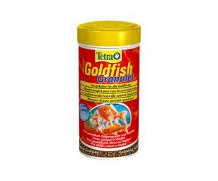 Mangime in granuli galleggianti per pesci rossi e altri pesci d'acqua fredda.
