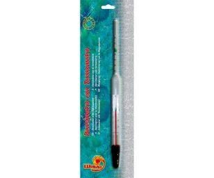 Misura la temperatura del'acqua e la densistà dell'acqua nell'acquario marino.