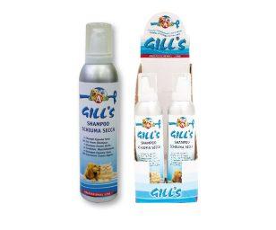Gill's shampoo schiuma secca cani 2 è uno shampoo a secco per cani di tutte le taglia e tutti i tipi di pelo.