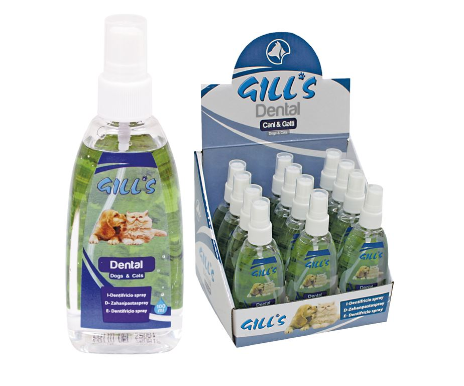 Gill's dental gill's è un dentifricio spray per animali.
