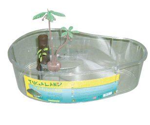 Tartarughiera in plastica con isola e piante.