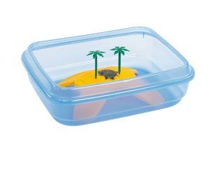 Ninja è una capiente vaschetta per tartarughe il plastica blu trasparente per poter vedere le vostre amiche acquatiche.
