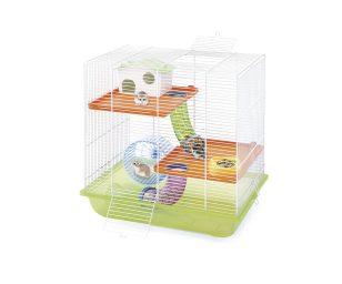 Criceti 7 è una gabbia per criceti con un habitat sviluppato su tre livelli collegati da tubi colorati trasparenti.