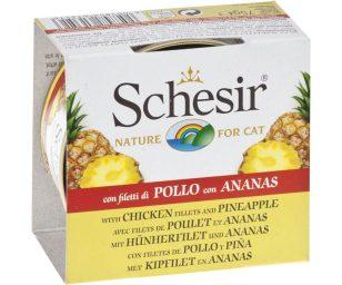 Tutta la qualità degli ingredienti 100% naturali di Schesir in un'originale e prelibata ricetta con veri pezzi di frutta in abbinamento alle parti migliori della carne. Cottura a vapore