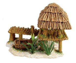 Questo elemento decorativo per acquario in resina che rappresenta una casa e un ponte in bambù permetterà ai vostri pesci di nascondersi e sublimerà le vostre piante acquatiche.