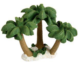 Questo elemento decorativo per acquario in resina con tre palme farà da divertente nascondiglio per i vostri pesci e valorizzerà le vostre piante acquatiche.