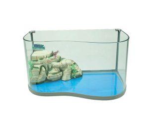 Tartarughiera blu bios in vetro e vetro con doppia curva con isola filtro e pompa inclusa per permettere alle tartarughe di salire fuori dall'acqua e avere un'acqua sempre pulita.