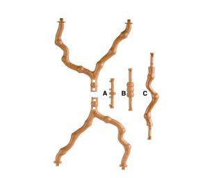 Posatoio a forma di ramo con diametro da 10 a 14 mm