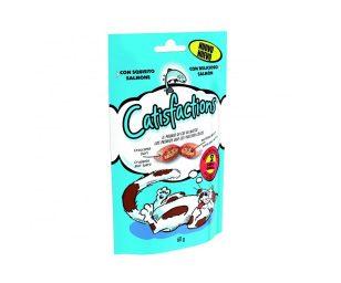 Catisfaction salmone è una deliziosa linea di fuoripasto per il proprio gatto. Si tratta di croccantissimi snack con un morbido ripieno a cui i gatti non sapranno resistere.