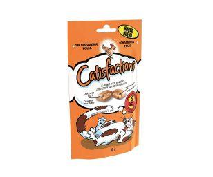 Catisfaction pollo è una deliziosa linea di fuoripasto per il proprio gatto. Si tratta di croccantissimi snack con un morbido ripieno a cui i gatti non sapranno resistere.