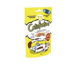Catisfaction formaggio è una deliziosa linea di fuoripasto per il proprio gatto. Si tratta di croccantissimi snack con un morbido ripieno a cui i gatti non sapranno resistere.