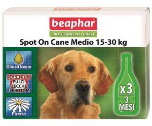 Lo Spot On Protezione Naturale Beaphar per cani di taglia media utilizza solo essenze ed oli vegetali davvero efficaci contro parassiti ed insetti ed al contempo delicati con il mantello e la cute dell'animale.