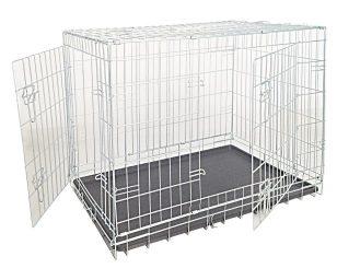 Box per cani in rete zincata con 2 porte.