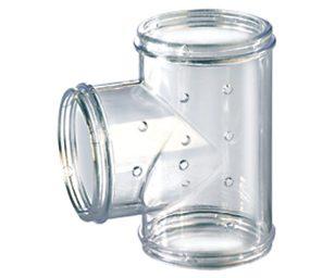 Tubo di collegamento trasparente che consente di collegare una gabbia o un nido esterno RodyLounge.