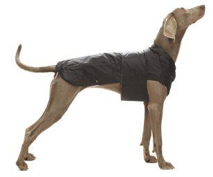 Cappotto impermeabile nero con fodera in pile rimovibile per un utilizzo in tutte le stagioni. Dispone di foro per il guinzaglio