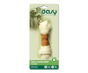 Oasy osso masticabile con pollo è uno snack o premio per tutti i cani di taglia grande. Osso di ottima qualità e gustoso per il vostro amico.