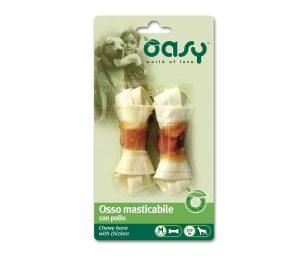 Oasy 2 ossi masticabili con pollo è uno snack o premio per tutti i cani di taglia media. Osso di ottima qualità e gustoso per il vostro amico.
