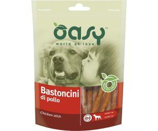 Oasy bastoncini di pollo è un gustoso e sano snack o premio per il vostro Cane. Ideale ad ogni momento e per ogni taglia del vostro amico.