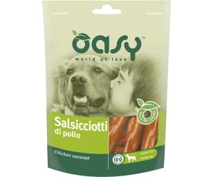 Oasy salsicciotti di pollo è uno snack gustoso e sano per il vostro cane. Premialo con ingredienti di ottima qualità.