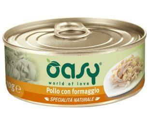 Oasy pollo con formaggio è un alimento naturale umido specifico per i primi mesi del vostro gattino. Qualità ottima per loro.