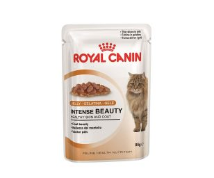 Alimento completo per la bellezza del pelo nei gatti adulti. Fettine in gelatina.