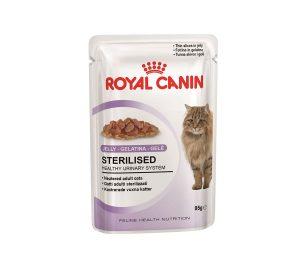 Alimento completo per gatti adulti sterilizzati. Fettine in gelatina.
