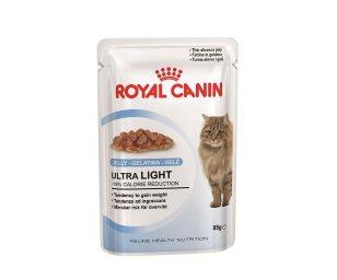 Alimento completo per gatti adulti con tendenza ad ingrassare. Fettine in gelatina.