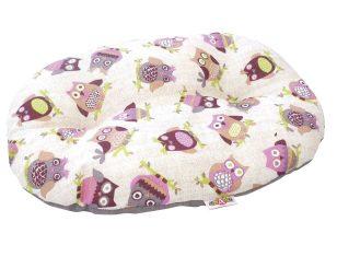 Cuscino ovale con fantasia gufi.