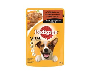 Il cibo umido di Pedigree® è disponibile in buste