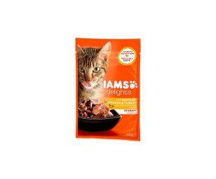 IAMS Delights a base di Pollo e Tacchino in Salsa. Alimento completo e bilanciato al 100%
