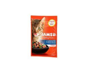 IAMS Delights a base di Pesce Oceanico e Fagiolini Verdi in Salsa. Alimento completo e bilanciato al 100%