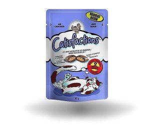 Catisfaction anatra è una deliziosa linea di fuoripasto per il proprio gatto. Si tratta di croccantissimi snack con un morbido ripieno a cui i gatti non sapranno resistere.