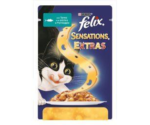 Felix Sensations Extras contiene teneri bocconcini con un pizzico di gustoso formaggio: un gusto inaspettato da far scoprire al tuo gatto!