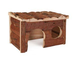 Accogliente casetta per porcellini d`india realizzata in legno naturale.