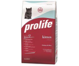 Prolife Kitten Chicken & Rice è un alimento completo formulato rispettando le particolari esigenze nutrizionali dei gattini da 1 a 12 mesi.
