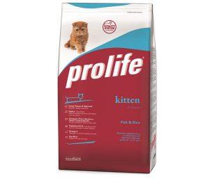 Prolife Kitten Fish & Rice è un alimento completo formulato rispettando le particolari esigenze nutrizionali dei gattini da 1 a 12 mesi.