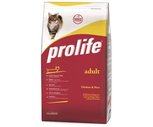 Prolife Adult Chicken & Rice è un alimento completo formulato in base alle specifiche esigenze nutrizionali del gatto adulto.