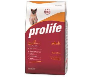 Prolife Adult Beef & Rice è un alimento completo formulato in base alle specifiche esigenze nutrizionali del gatto adulto.