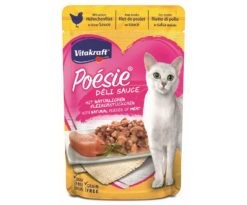 Questi deliziosi bocconcini con un tenero filetto di pollo in salsa raffinata sono una vera poesia per ogni gatto e ispirano un gusto unico.