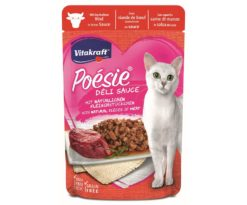 Questi gustosi dolcetti con abbondante carne in salsa molto raffinata sono una vera poesia per ogni gatto e ispirano un gusto unico.