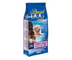 Alimento completo per cani da 2 a 12 mesi di età e per femmine gestanti e allattanti che favorisce il corretto sviluppo e la crescita del cucciolo.